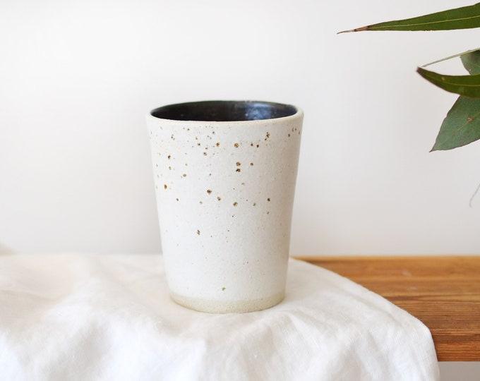 White + Black Ceramic Tumbler | Latte Cup | Tea Cup
