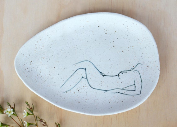 "RECLINING  Hand painted Ceramic Oval Dish |  20cm wide (8"")"