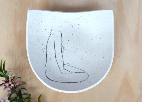 "SHE WAITS Semi Circle Hand painted Ceramic Dish |  15cm (6"")"