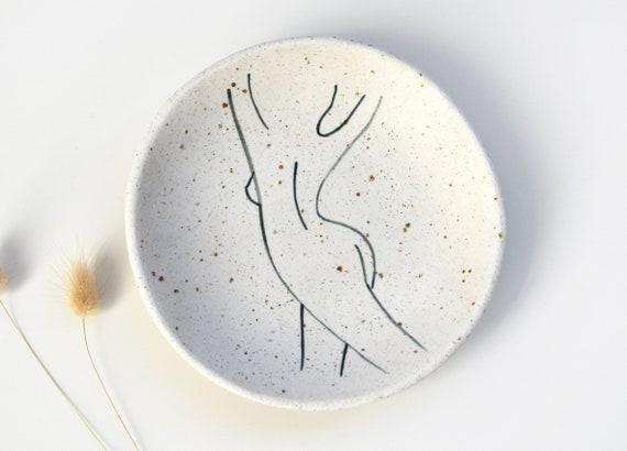 "FLOW Hand painted Ceramic Dish |  Jewellery Dish | 15cm (6"")"
