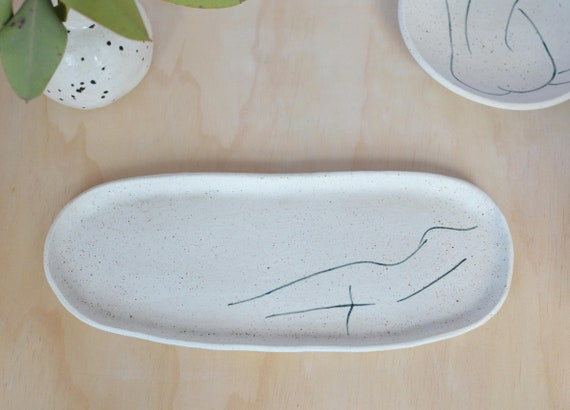 "SHE SLEEPS  Hand painted Wide Ceramic Dish |   30cm (12"")"