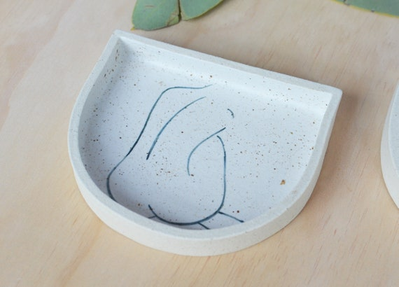 "BACKLESS Hand painted Crescent Ceramic Dish |  14cm wide (5.5"")"
