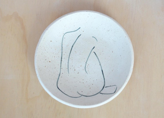 "BACKLESS  Hand painted Ceramic Dish |  Ring Dish | 15cm (6"")"