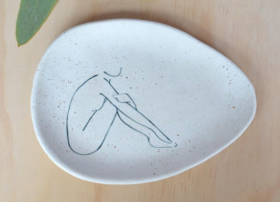 "AWAKEN  Hand painted Ceramic Oval Dish |  20cm wide (8"")"