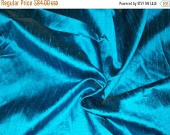 d3b511dd9bd23c 15% OFF Wholesale fabric 6 yards of 100 Percent pure dupioni silk in Peacock  blue Blue raw silk