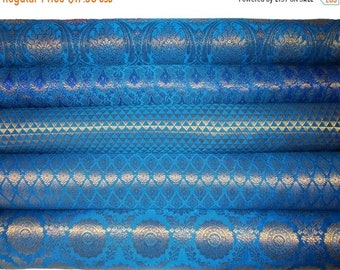 8b6a51ea1a5 15% OFF Bundle Stack of Peacock blue Indian brocade set of five fat  quarters perfect for crafting sewing