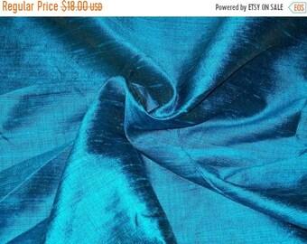 08a17ecaa77b4d 15% OFF One yard of peacock blue 100 Percent pure dupioni silk