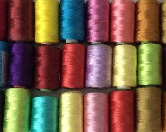 Art Silk Thread, 20 Spools Wholesale Indian Silk Thread, Art Silk Thread, Hand And Machine Embroidery Thread