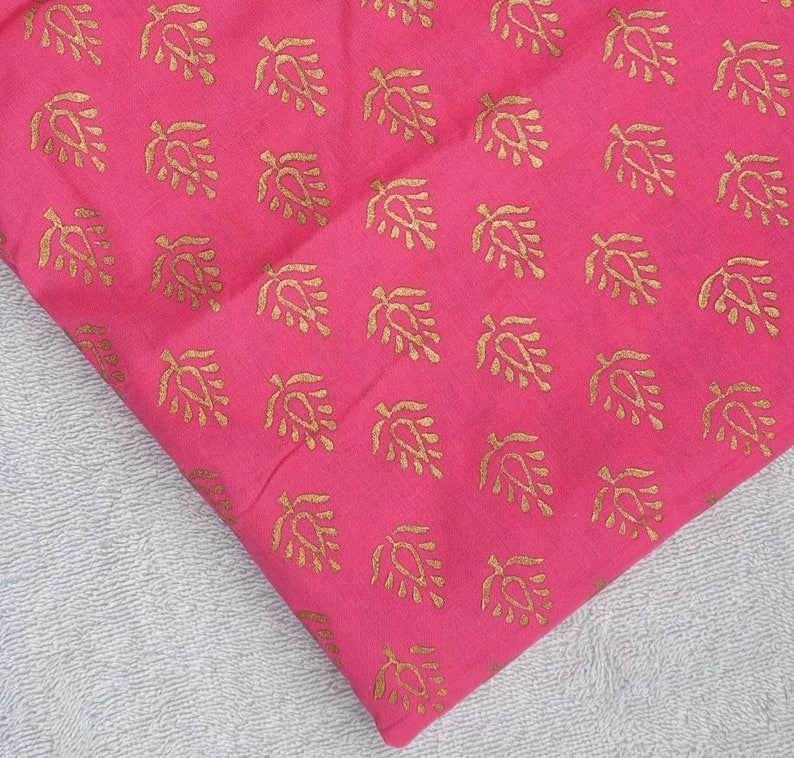 One yard of deep pink and gold block printed cotton fabric,cotton fabric for summer dresses,Indian cotton fabric