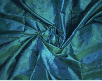 One yard of teal blue with green  100 percent pure dupioni silk/ raw silk fabric /Silk fabric by the fabric