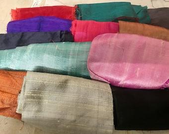 Raw silk dupioni scrap bundle (24 pieces) two dozen silk scraps