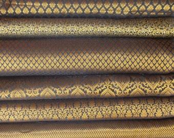 Bundle /stack of Black Indian brocade fabric -set of four fat quarters
