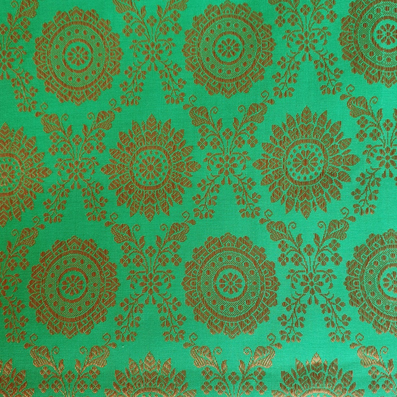 pillow covers One yard turquoise green Indian Brocade Fabric by the Yard for DIY craft upholstery drapery doll clothes dress sari