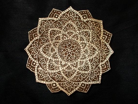 Indian Wood Stamps Handcarved Block Printing Mandala Textile Stamp Traditional