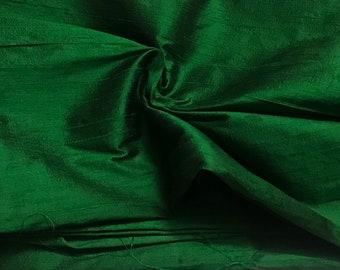 One yard of 100% pure dupioni silk in emerald green/Green raw silk