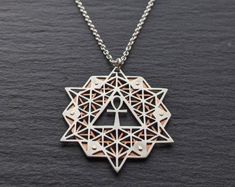 64 Tetrahedron Grid Pendant with Ankh - Handcut sterling silver and copper Geometry Jewelry
