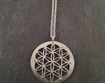 Silver Flower of Life Pendant with 9ct gold rivets - Handcrafted Sacred Geometry Jewellery