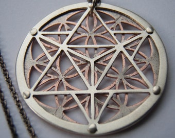 Star Tetrahedron and Flower of Life Pendant - silver and copper or silver and 9ct gold.