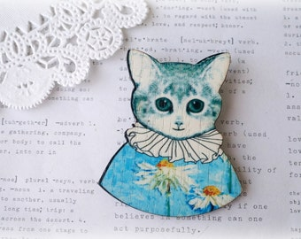 Wooden Fancy Dressed Cat Brooch