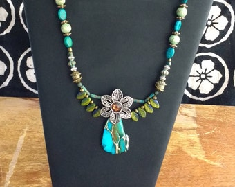 Floral, Petal and Turquoise Necklace