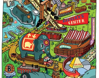"""Brooklyn Elephants / by Aaron Meshon / Limited edition 13""""x19"""" archival Giclee print"""