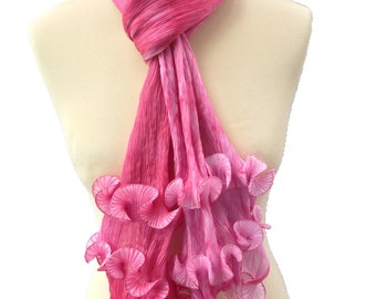 Shibori pleated silk scarf. Raspberry ripple