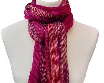 Shibori pleated silk scarf - berry and gold