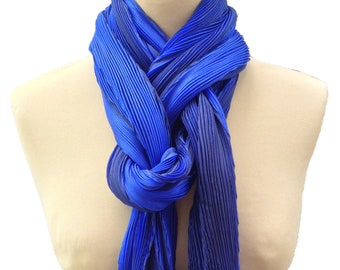 Shibori pleated silk scarf - cobalt blue