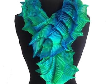 Shibori pleated silk scarf - ocean ori boa