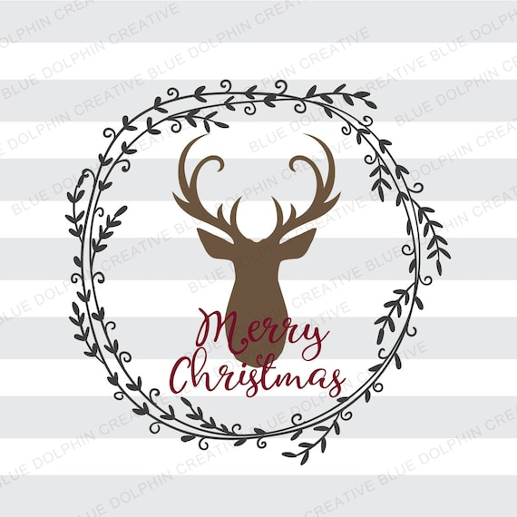Rustic Merry Christmas With Deer Wreath SVG DXF Png Pdf Jpg