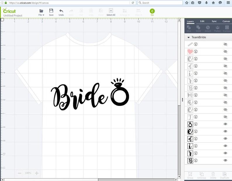 png pdf  electronic cutter files  wedding svg  bridal party  diy vinyl letters  HTV vinyl files  die cuts  clip art Team Bride SVG
