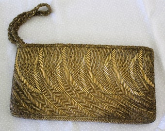Vintage Gold Beaded Evening Bag ~ Glass Beaded Purse ~ Beaded Clutch