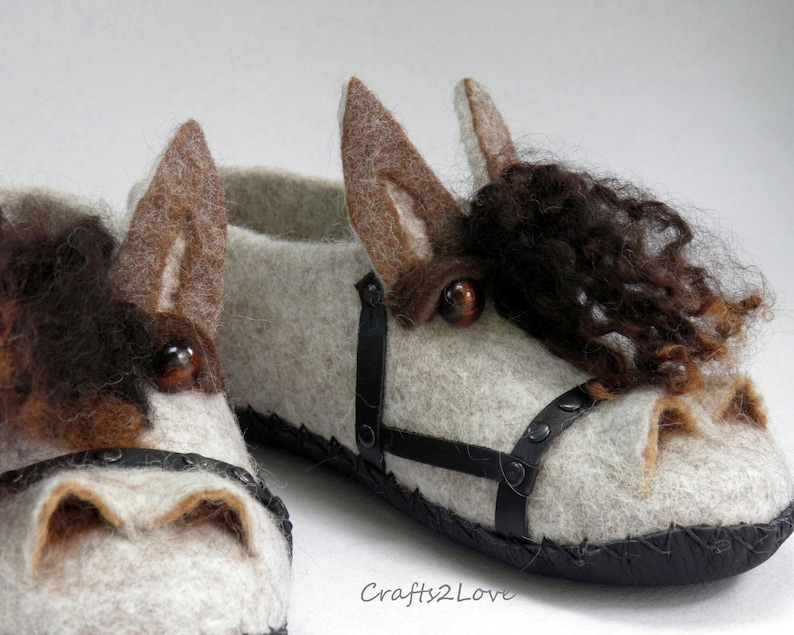 079cb76c354e4 Horses slippers Felted slippers with soles Mens felt slippers animal Wool  slippers Slip on Shoes Choose soles Funny gift for him