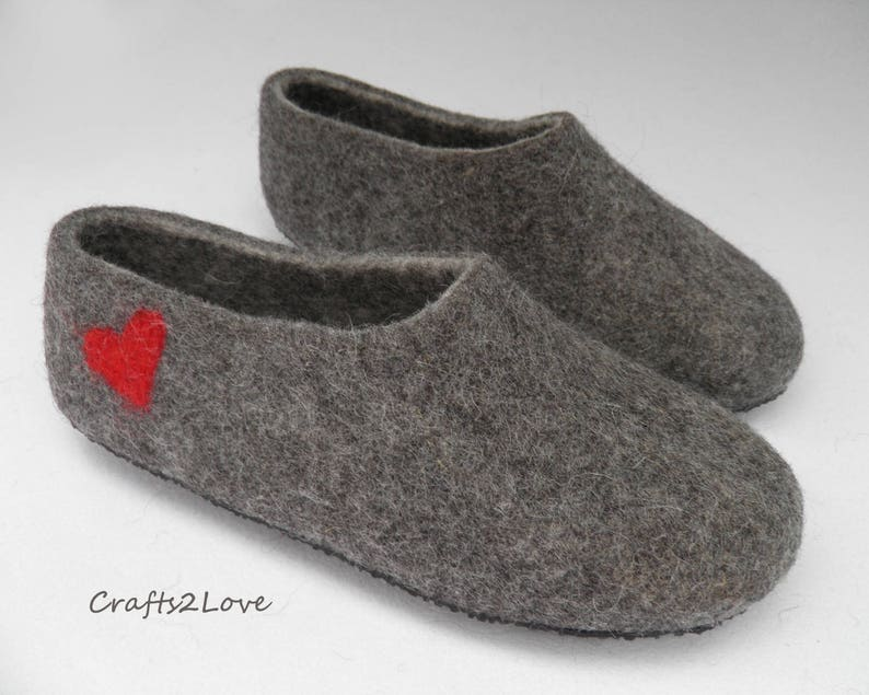 21be38a2a277c Felted slippers Mens Felt slippers with hearts Felt valentines day gift for  him Wool slippers Warm bathroom slippers Natural