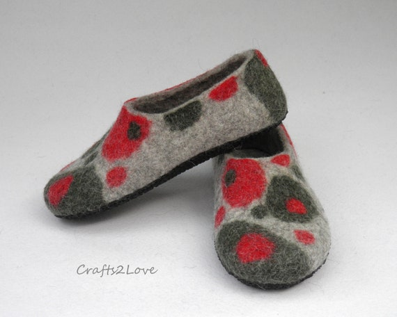 728d665ace8ba Felted slippers Womens felt slippers with soles Felted Wool house shoes  Gift for mom from son Thanksgiving Harvest Housewarming