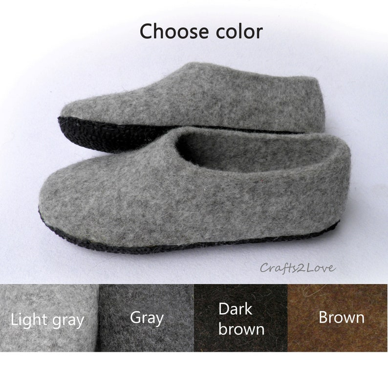 35051ebde3fa2 Mens felt slippers Felted wool slippers with soles Choose color Warm  slippers Fathers day Winter gift for men