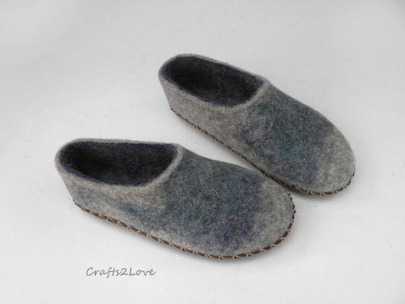 Felt Slippers Wool Slippers With Leather Soles Felted Slippers Etsy
