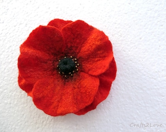 Remembrance Day Poppy. Red Poppy. Felted wool flower brooch pin corsage flower felt poppy, scarlet red and black.