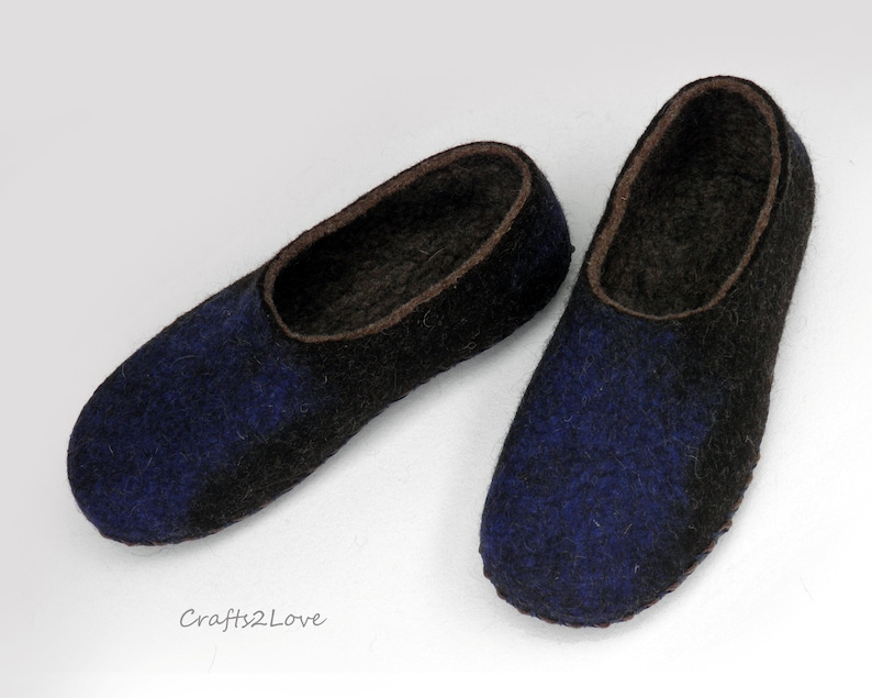0904d1194bc8f Mens felt slippers Felted wool slippers with soles Felted Winter gift for  husband Slip on warm bathroom slippers Hand made