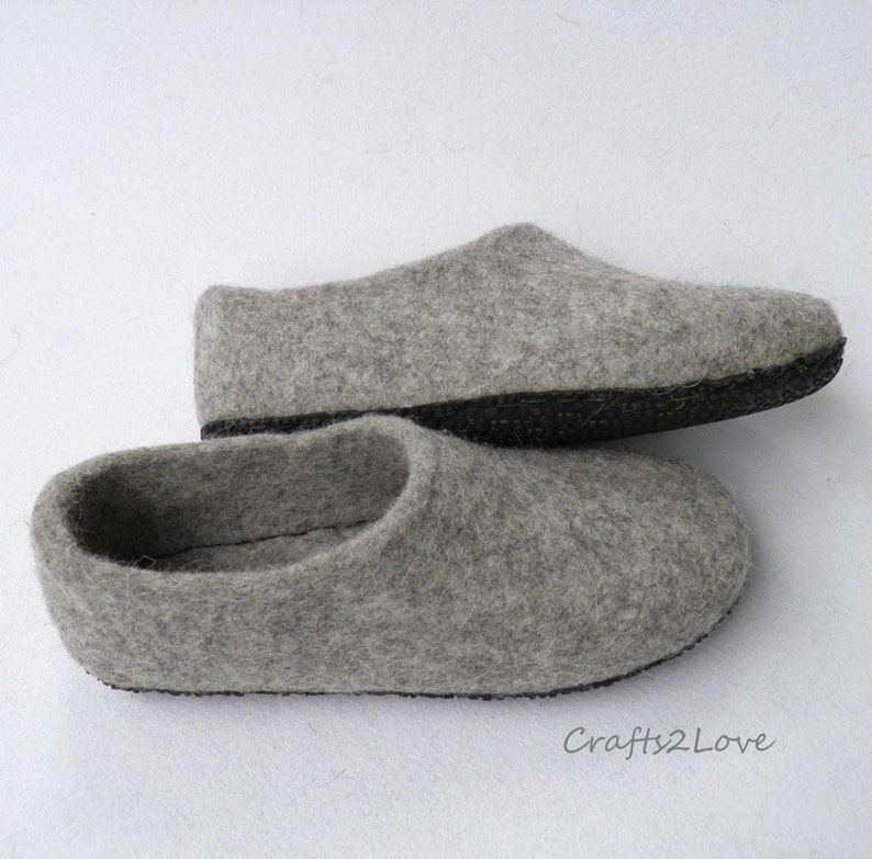 964a99713aff0 Felted slippers Women felt grey slippers Wool slippers with soles Warm  bedroom Minimalist- Natural- Grey- Made to Order