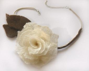 Vintage Style Felted White Silk Rose Flower Choker. Fiber Art for Wear. OOAK.