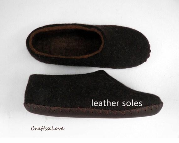 Felted Slippers Felt Wool Slippers Men Home Shoes Dark Brown Etsy