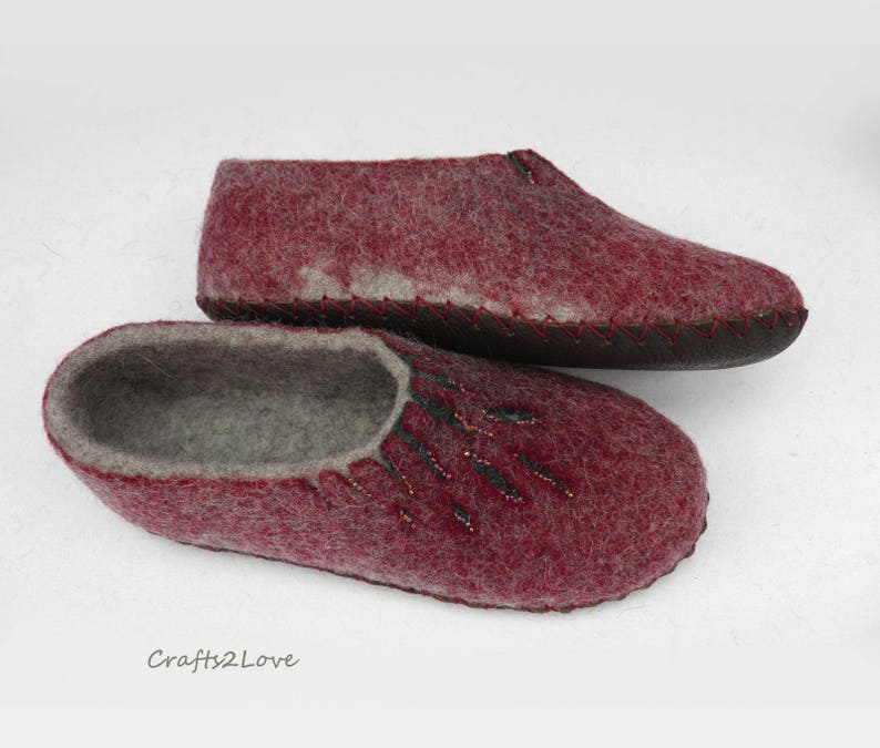 952cbfaf3ba9a Wine felted slippers for women Felt slippers Home Wool slippers with soles  House shoes Womens warm bedroom slippers Moms Gift for her