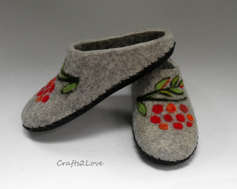 30c6bb61acda6 Felted slippers Wool slippers with soles Womens felt slippers Hygge home  shoes Rowan - berry Warm bedroom Made to Orde