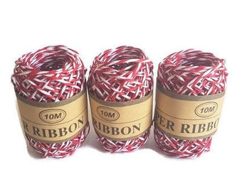 Paper ribbon raffia grass rope red and white rafi 10m gift packaging yarn twisted ribbon