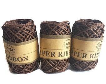 Paper Rafia ribbon recycle brown paper grass rope rafi 10metres gift packaging yarn eco
