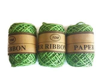 Rafia paper ribbon grass rope rafi 10m gift packaging yarn eco friendly green