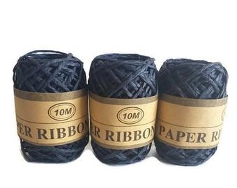 Eco friendly Paper rafia ribbon raffia grass rope navy blue rafi 10meters gift packaging yarn recycle