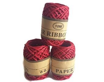 Rafia ribbon paper red grass rope rafi 10m gift packaging yarn