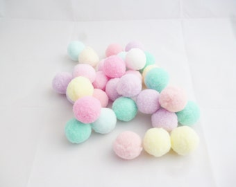 Pom Pom balls pastel bead fluffy arts and crafts 25mm